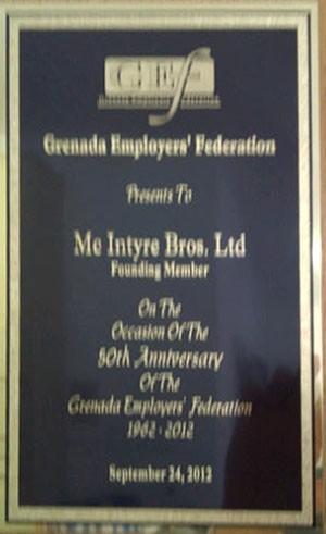 Award presented by Grenada Employer's Foundation