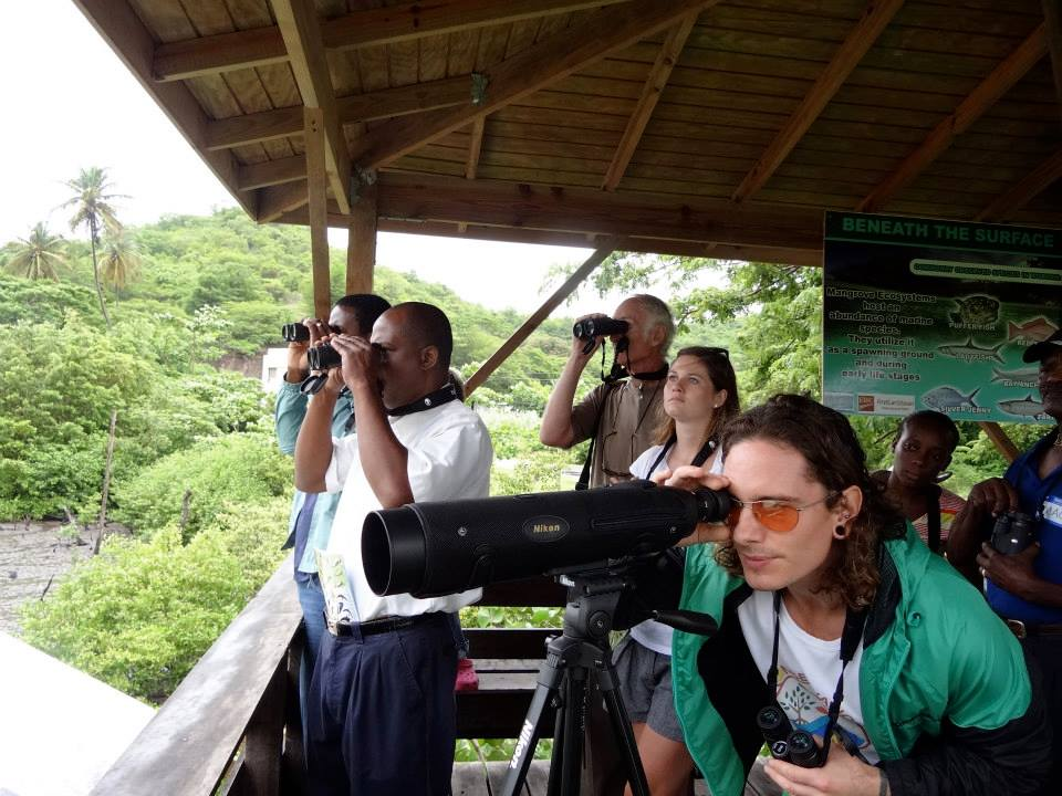 Training participants practicing their bird identification skills at the observation platform at Woburn-Clark's Court Bay Marine Protected Area.
