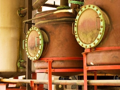 Rum distillery copper kettles